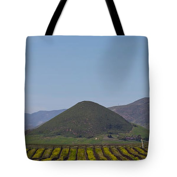 Vineyard With A Mountain Range Tote Bag