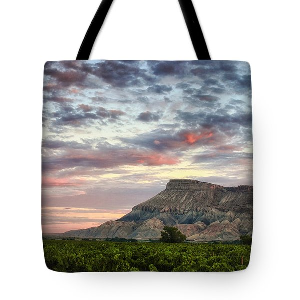 Vineyards And Mt Garfield Tote Bag by Ronda Kimbrow