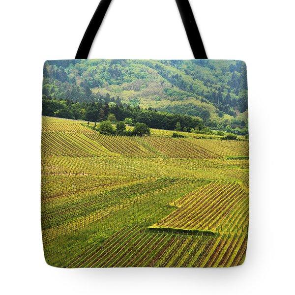 Vineyards Below Zellenberg France 1 Tote Bag by Greg Matchick