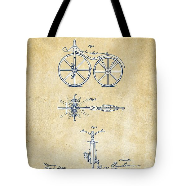 Vintage 1866 Velocipede Bicycle Patent Artwork Tote Bag