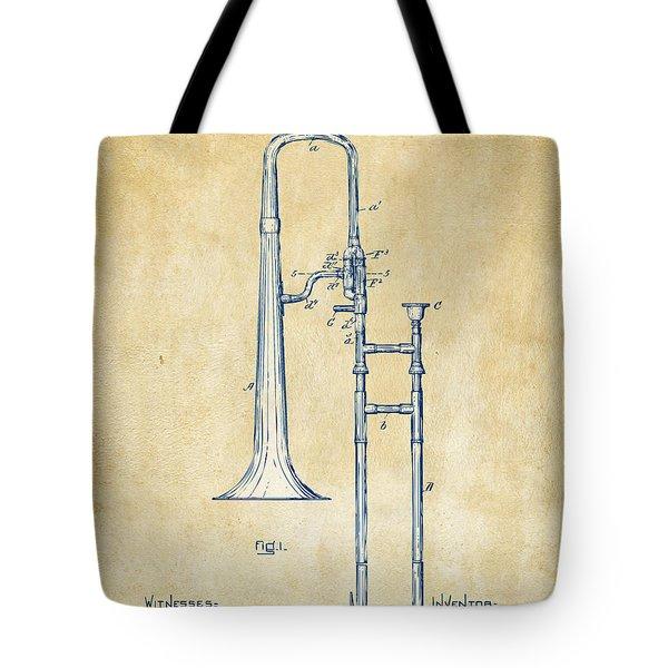 Vintage 1902 Slide Trombone Patent Artwork Tote Bag
