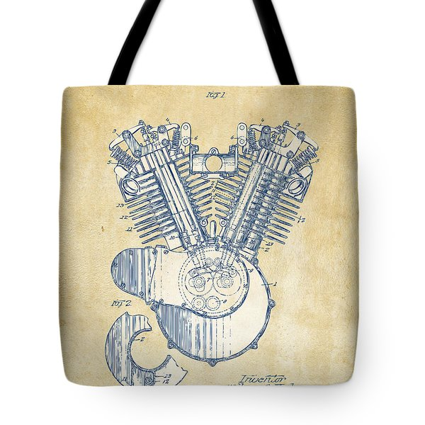 Vintage 1923 Harley Engine Patent Artwork Tote Bag