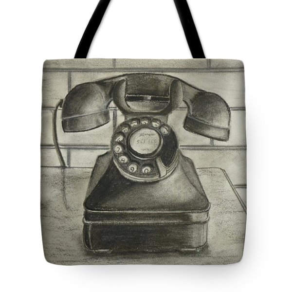 Tote Bag featuring the drawing Vintage 1940's Telephone by Kelly Mills