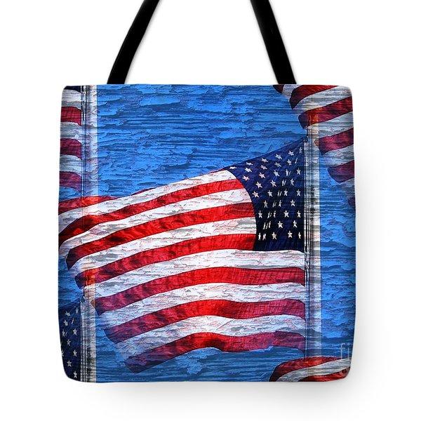 Vintage Amercian Flag Abstract Tote Bag by Judy Palkimas