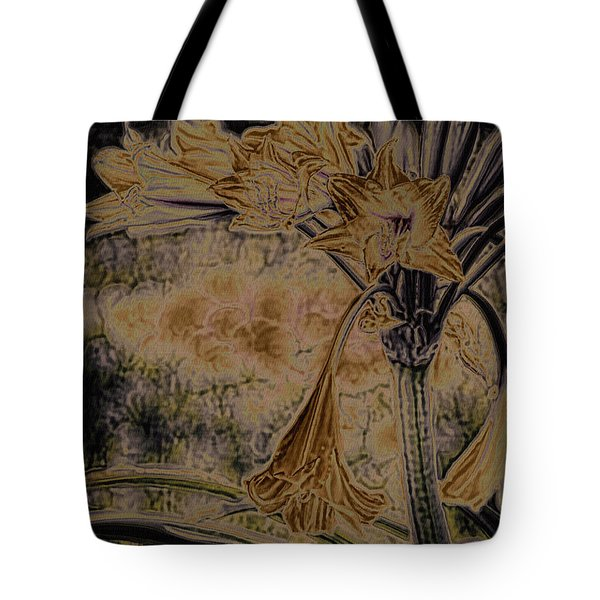 Vintage Angel Trumpet Art Golden Tote Bag
