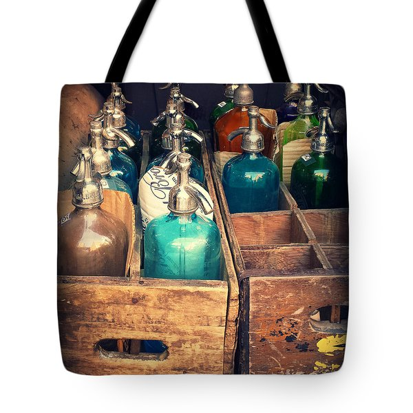 Vintage Antique Seltzer Bottles Tote Bag by Miriam Danar