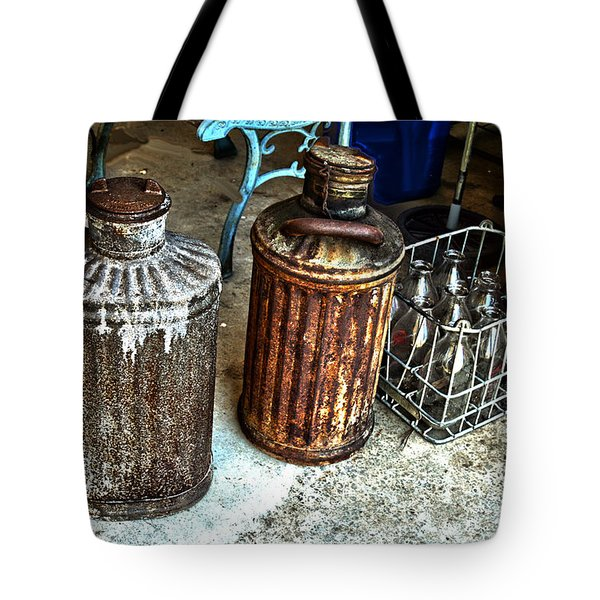 Tote Bag featuring the photograph Hdr Vintage Art  Cans And Bottles by Lesa Fine