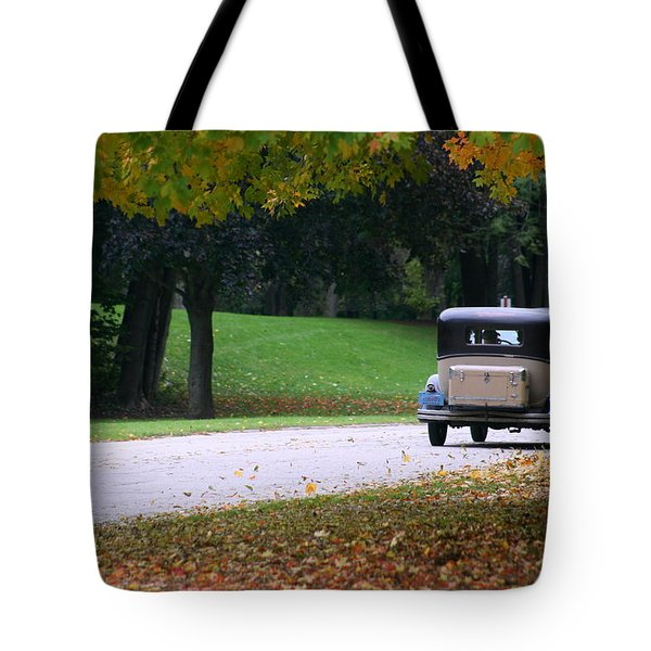 Vintage Auto On The Road Again Tote Bag by Kay Novy