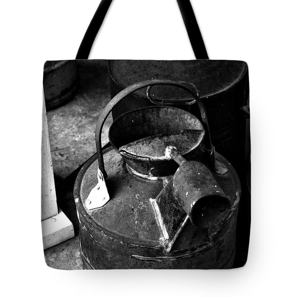 Tote Bag featuring the photograph Vintage B/w Galvanized Container by Lesa Fine