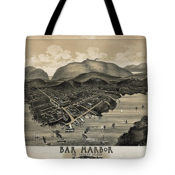 Vintage Bar Harbor Map Tote Bag