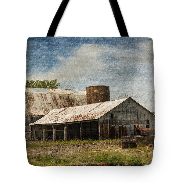 Barn -vintage Barn With Brick Silo - Luther Fine Art Tote Bag