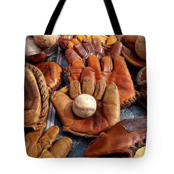 Tote Bag featuring the photograph Vintage Baseball by Art Block Collections