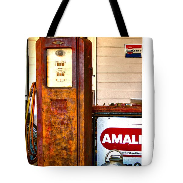 Tote Bag featuring the photograph Vintage Bassett Gas Pump   by Lesa Fine