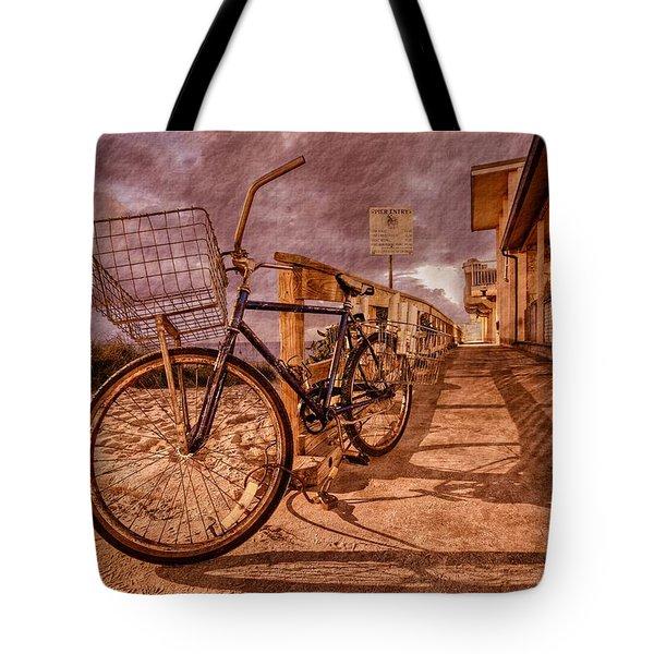 Vintage Beach Bike Tote Bag by Debra and Dave Vanderlaan