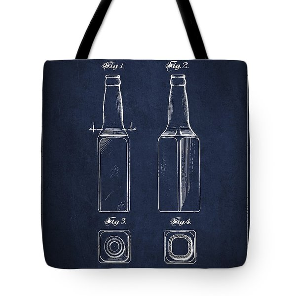 Vintage Beer Bottle Patent Drawing From 1933 - Blue Tote Bag