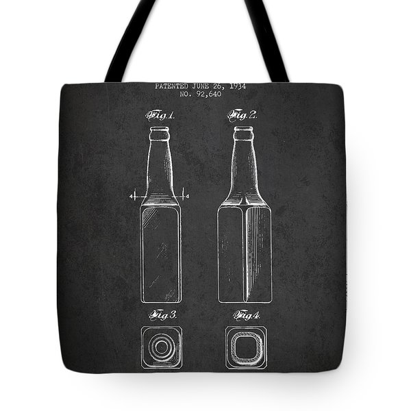 Vintage Beer Bottle Patent Drawing From 1934 - Dark Tote Bag