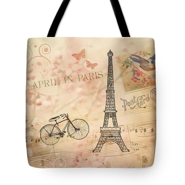 Vintage Bicycle And Eiffel Tower Tote Bag by Peggy Collins