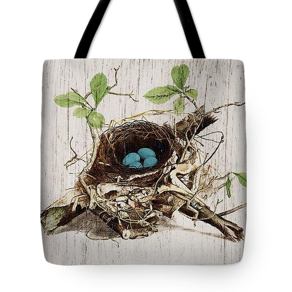 Vintage Bird Nest French Botanical Art Tote Bag by Cranberry Sky