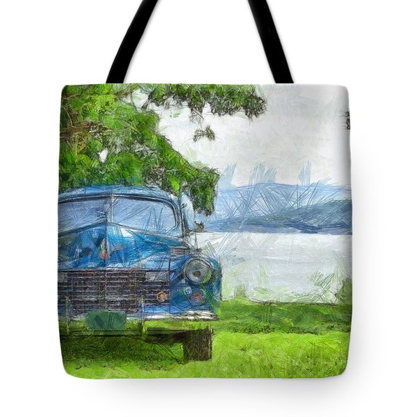 Vintage Blue Caddy At Lake George New York Tote Bag by Edward Fielding