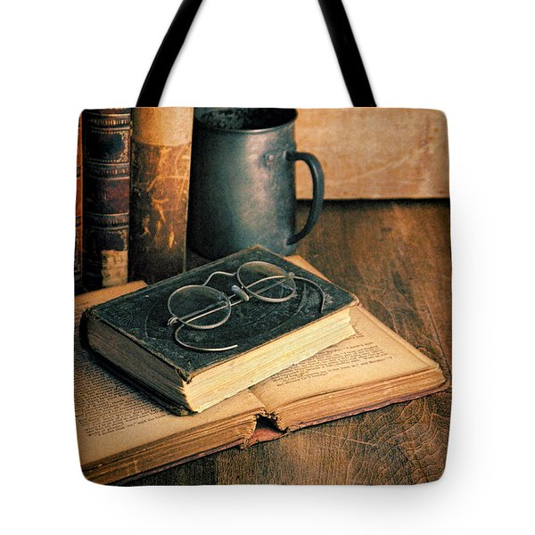 Vintage Books And Eyeglasses Tote Bag by Jill Battaglia