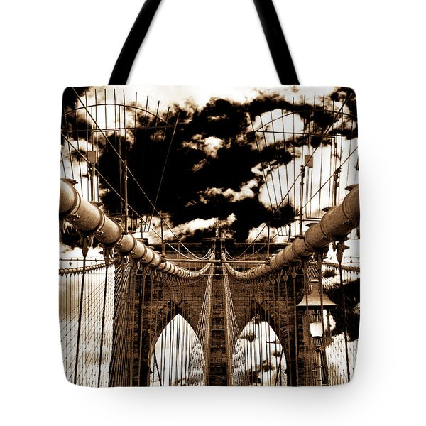 Vintage Brooklyn Bridge Tote Bag by John Rizzuto
