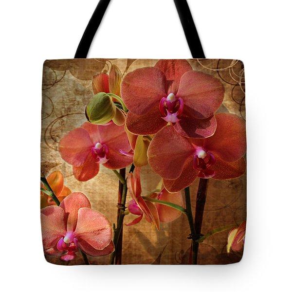 Vintage Burnt Orange Orchids Tote Bag by Judy Palkimas