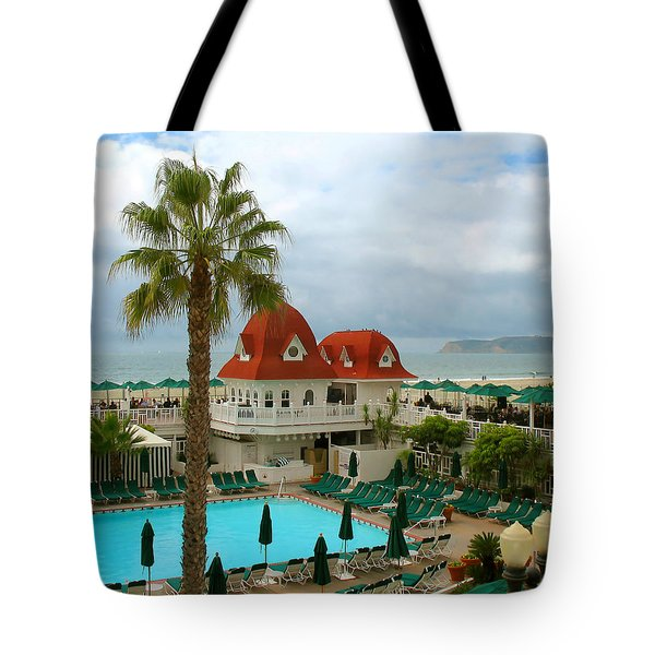 Vintage Cabana At The Del Tote Bag by Connie Fox