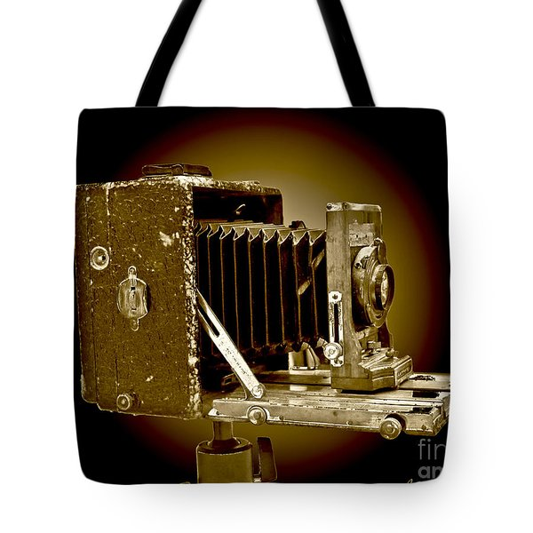 Vintage Camera In Sepia Tones Tote Bag