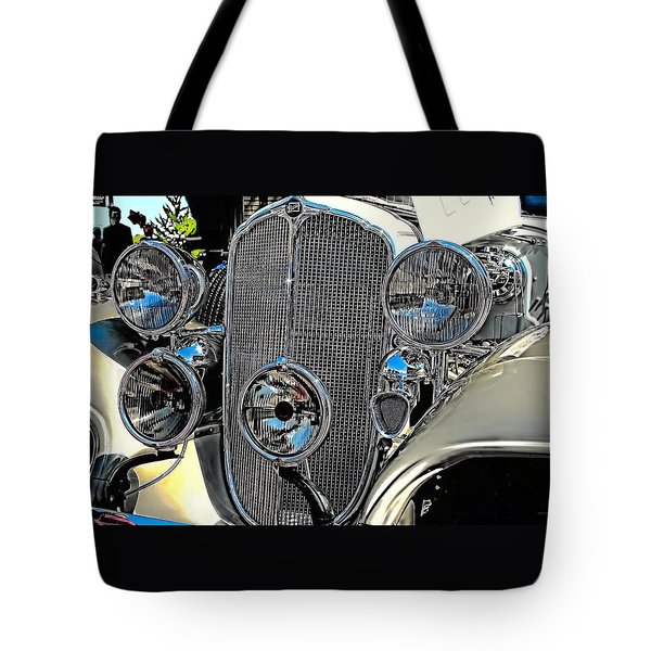 Vintage Car Art Buick Grill And Headlight Hdr Tote Bag