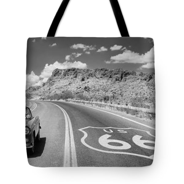 Vintage Car Moving On The Road, Route Tote Bag