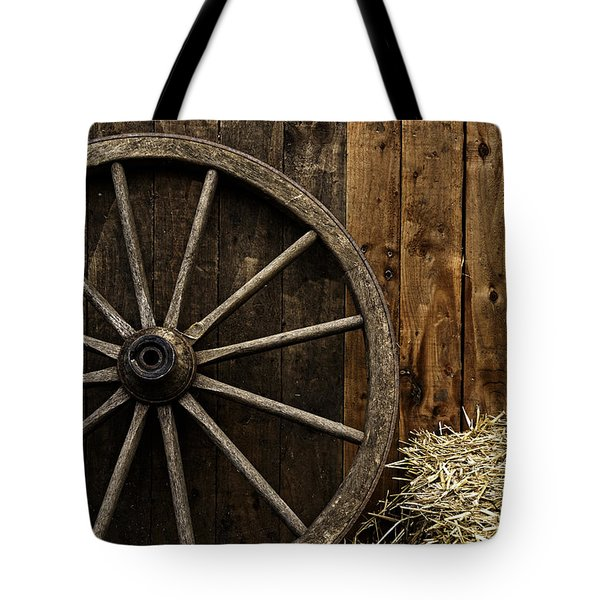 Vintage Carriage Wheel Tote Bag