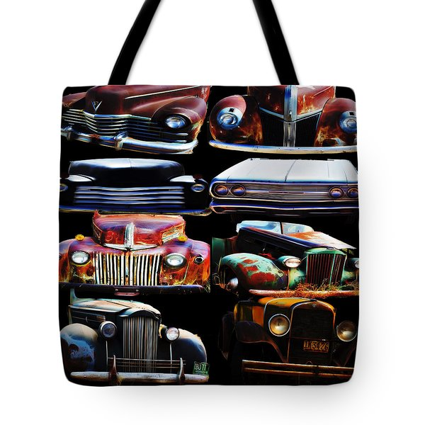Vintage Cars Collage 2 Tote Bag by Cathy Anderson