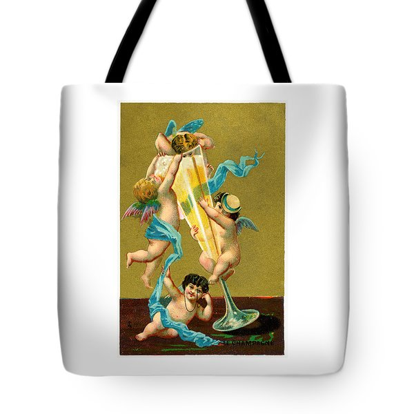 Vintage Cherubs Drinking Champagne Tote Bag by Historic Image