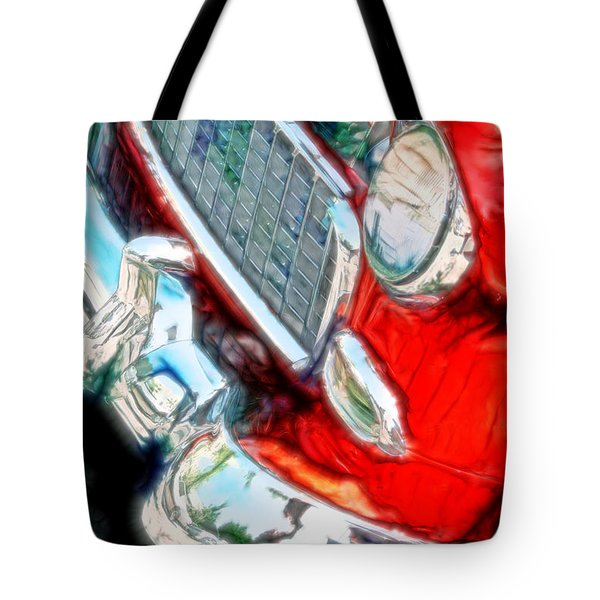 Vintage Chevy Art Alley Cat 3 Red Tote Bag
