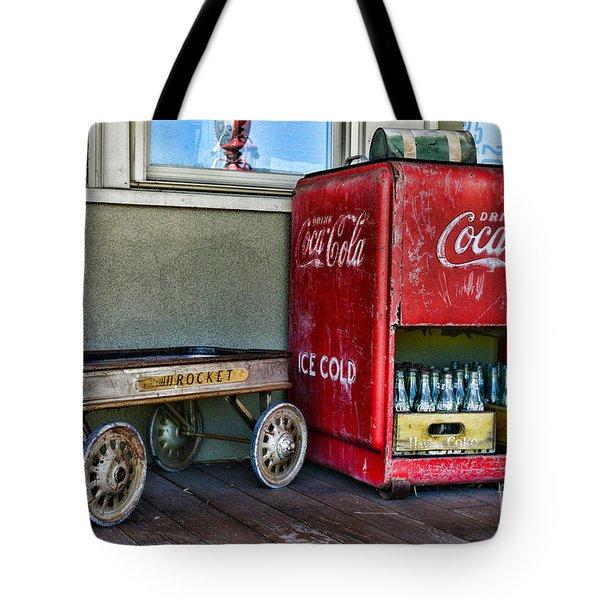 Vintage Coca-cola And Rocket Wagon Tote Bag by Paul Ward