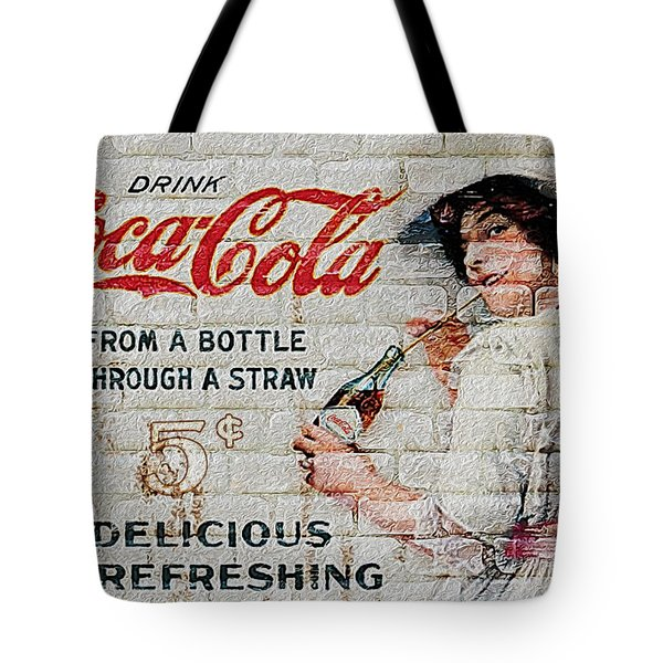 Vintage Coke Sign Tote Bag by Jack Zulli