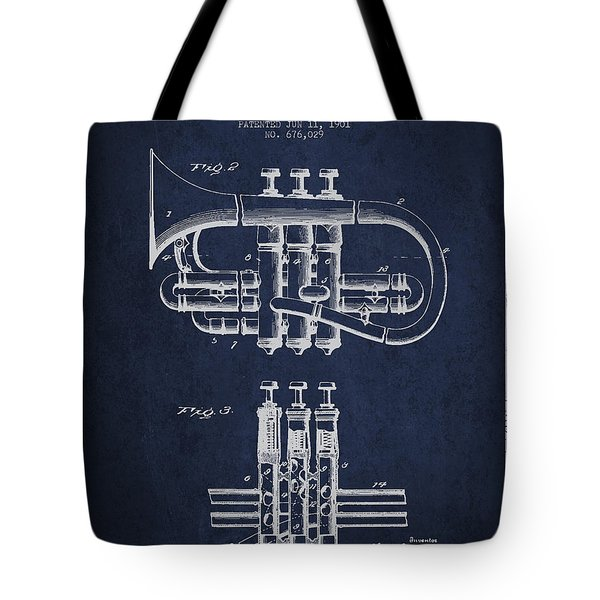 Cornet Patent Drawing From 1901 - Blue Tote Bag by Aged Pixel