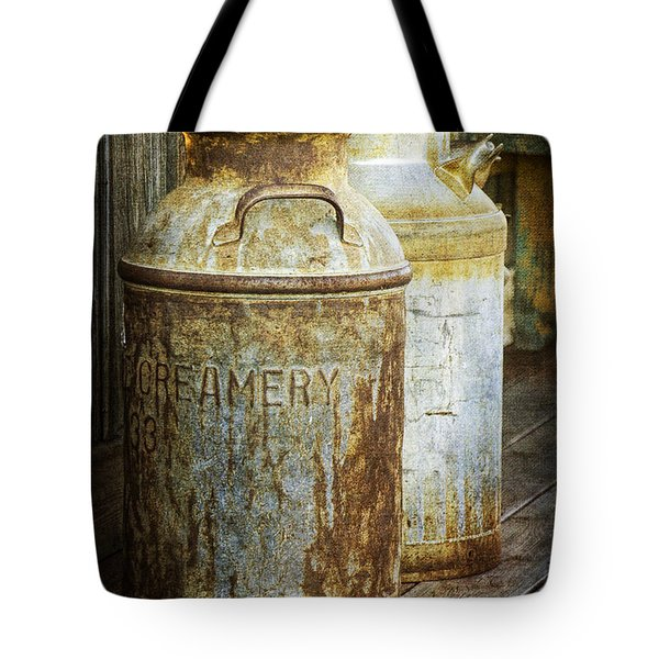 Vintage Creamery Cans In 1880 Town In South Dakota Tote Bag