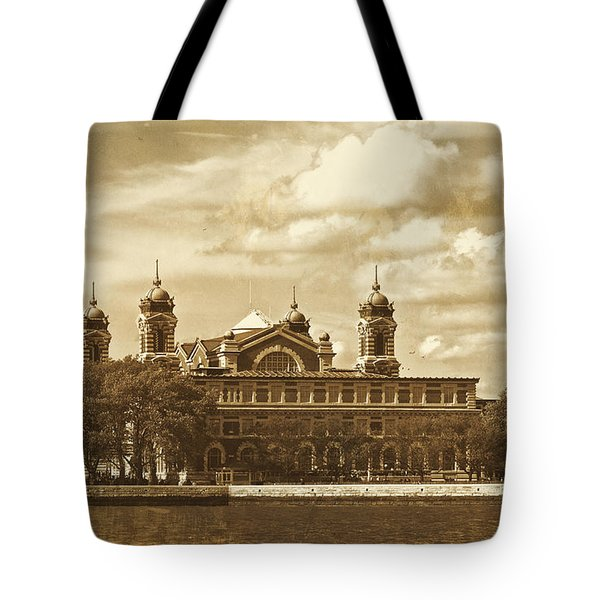 Tote Bag featuring the photograph Vintage Ellis Island by Eleanor Abramson