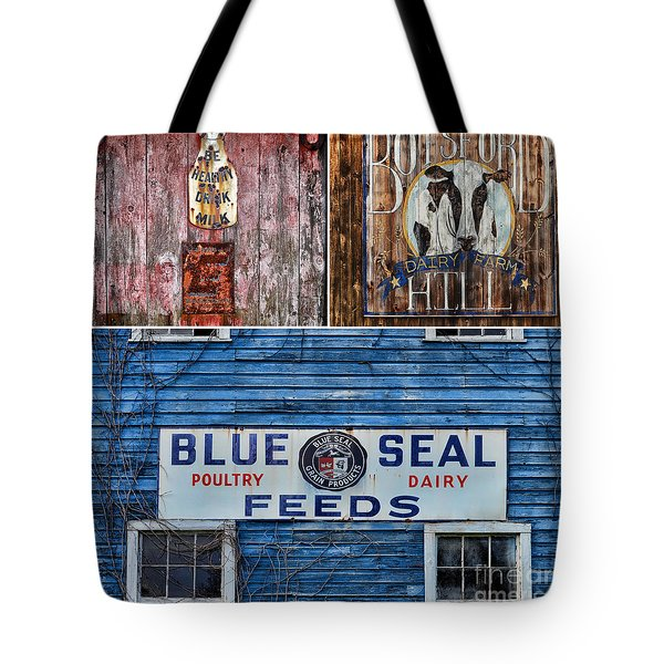 Vintage Farm Signs Tote Bag by Sabine Jacobs
