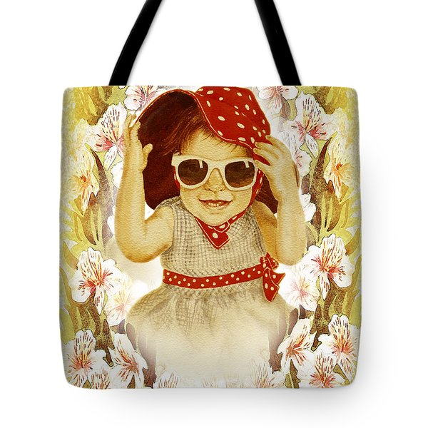 Tote Bag featuring the painting Vintage Fashion Girl by Irina Sztukowski