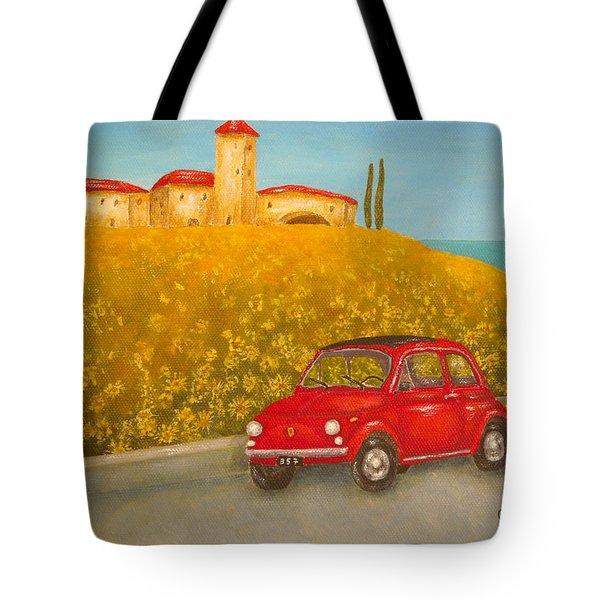 Vintage Fiat 500 Tote Bag by Pamela Allegretto