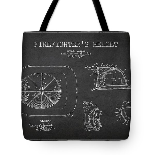 Vintage Firefighter Helmet Patent Drawing From 1932 Tote Bag by Aged Pixel