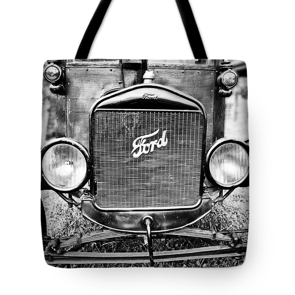 Vintage Ford In Black And White Tote Bag