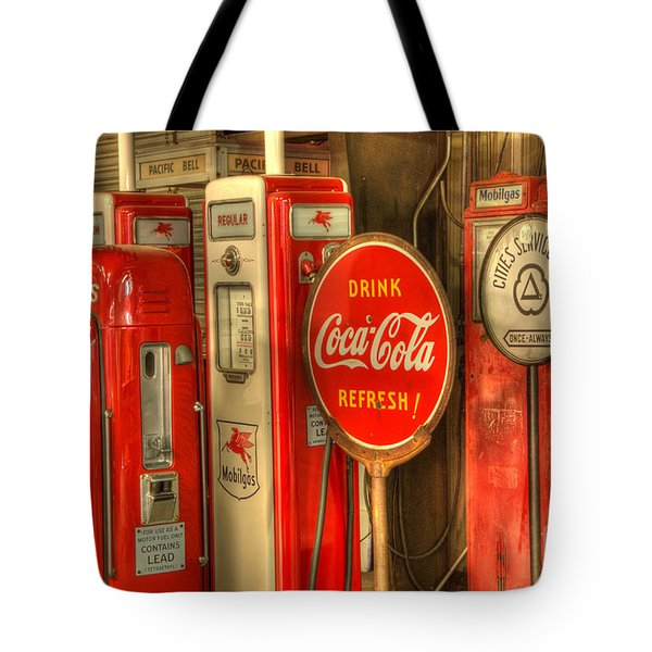 Vintage Gasoline Pumps With Coca Cola Sign Tote Bag by Bob Christopher
