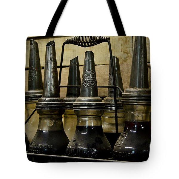 Vintage Glass  Motor Oil Bottles Tote Bag by Wilma  Birdwell
