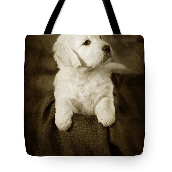 Vintage Golden Retriever Pup Tote Bag by Angel  Tarantella