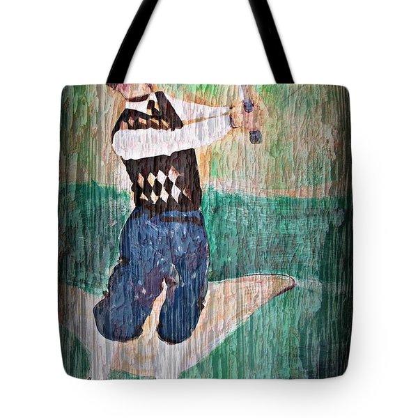 Vintage Golfer Tote Bag by Judy Palkimas