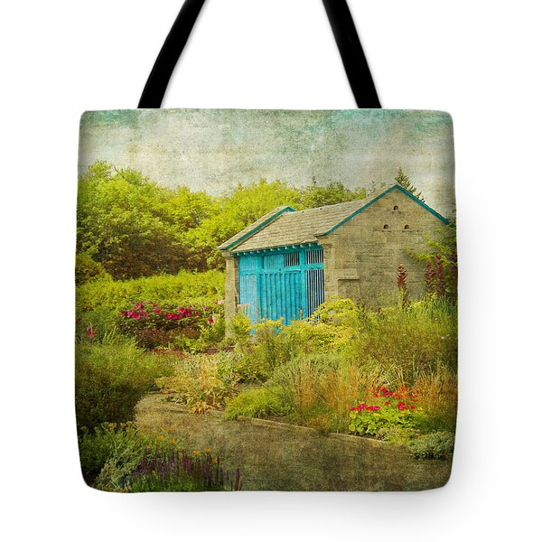 Vintage Inspired Garden Shed With Blue Door Tote Bag