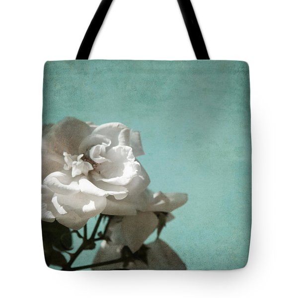 Tote Bag featuring the photograph Vintage Inspired White Roses On Aqua Blue Green - by Brooke T Ryan